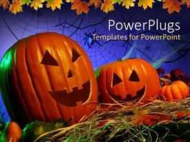 PowerPlugs: PowerPoint template with two Jack -o- lantern Halloween pumpkins on a Halloween theme background