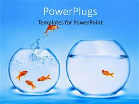 PowerPlugs: PowerPoint template with two jars with gold fishes jumping in and out