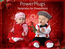 PowerPlugs: PowerPoint template with two kids celebrating the valentine's day