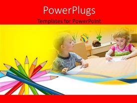 PowerPlugs: PowerPoint template with two kids in a classroom with a number of pencils