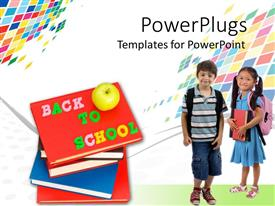 PowerPlugs: PowerPoint template with two kids dressed for school with pile of books on orange background