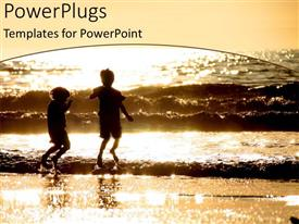 PowerPoint template displaying two kids enjoying on the beach