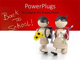 PowerPoint template displaying two kids foing to school with a reddish background