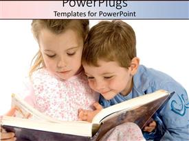 PowerPlugs: PowerPoint template with two kids studying a book with white background