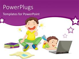 PowerPlugs: PowerPoint template with two kids studying with books and laptop on white background