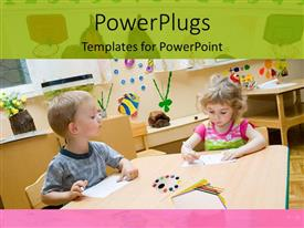 PowerPlugs: PowerPoint template with two kids working together with colorful background