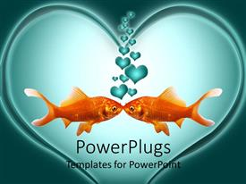 PowerPlugs: PowerPoint template with two kissing goldfish with heart shaped bubbles