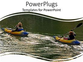 PowerPlugs: PowerPoint template with two ladies kayaking in a lake