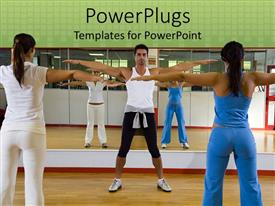 PowerPoint template displaying two ladies receiving exercise instruction from a male instructor