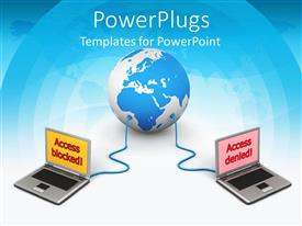 PowerPlugs: PowerPoint template with two laptops connected to a globe