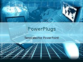 PowerPlugs: PowerPoint template with two laptops and a white mouse linking to each other