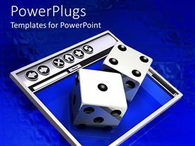 PowerPlugs: PowerPoint template with two large dice on a rectangular silver and blue surface