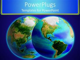 PowerPoint template displaying two large shinning earth depictions on a blue background