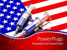 PowerPoint template displaying two large syringes filled o top of an American flag