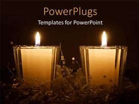 PowerPlugs: PowerPoint template with two large white colored candles with some objects round them