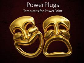 PowerPlugs: PowerPoint template with two large yellow colored 3D images smiling and frowning