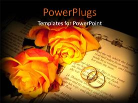 PowerPlugs: PowerPoint template with two large yellow flowers and an open book with rings on it