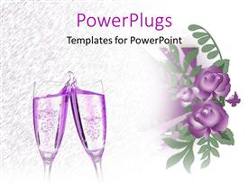 PowerPoint template displaying two lavender champagne glasses next to purple flowers and butterfly