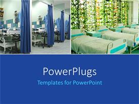 PowerPoint template displaying two layouts of hospital beds and blue background at the bottom