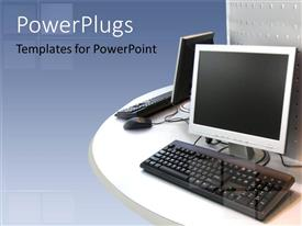 PowerPoint template displaying two LCD computer screens with two keyboards and mouse on a white circular table