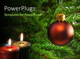 PowerPlugs: PowerPoint template with two lighted Christmas candles with ornament hanging from tree