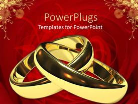 PowerPlugs: PowerPoint template with two linked gold wedding rings on a red background