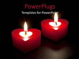 PowerPlugs: PowerPoint template with two lit red colored heat shaped candles in the dark