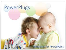 PowerPlugs: PowerPoint template with two little boys happily  playing on a white background