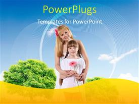 PowerPlugs: PowerPoint template with two little girls holding each other, and a pink flower