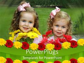 PowerPlugs: PowerPoint template with two little girls in landscape behind rows of colorful flowers