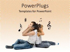 PowerPlugs: PowerPoint template with two little kids sitting back to back with headphones on enjoying music