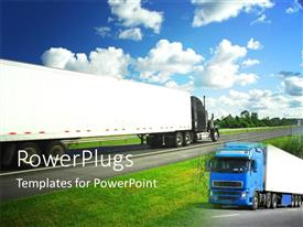 PowerPoint template displaying two long trucks in motion on a tarred road
