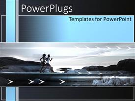 PowerPoint template displaying two male and female adults running fast on a black background