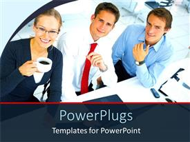 PowerPlugs: PowerPoint template with two males and a female corporately dressed in an office