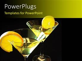 PowerPlugs: PowerPoint template with two martini glasses with lemon slices and black background