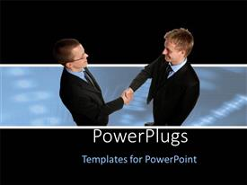 PowerPlugs: PowerPoint template with two men in business suits shaking hands