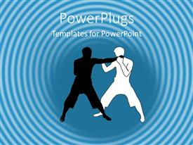 PowerPoint template displaying two men doing martial arts in light blue background