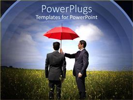 PowerPoint template displaying two men dressed in business suits one man holding a red umbrella over the other man standing on a field