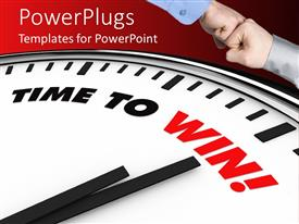 PowerPlugs: PowerPoint template with two men hands united over a clock with words time to win