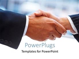 PowerPlugs: PowerPoint template with two men having a handshake over a blurry white background