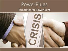 PowerPoint template displaying two men having a handshake with a text that spells out he word