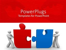 PowerPlugs: PowerPoint template with two men pushing red and blue puzzle pieces together
