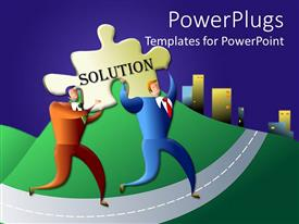 PowerPlugs: PowerPoint template with two men running with a tile that spells out the word 'solution'