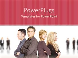 PowerPoint template displaying two men and two women standing back to back with business people standing in the faded background