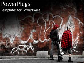PowerPlugs: PowerPoint template with two men walking past a brown brick wall with drawings