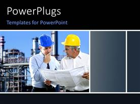 PowerPoint template displaying two men wearing construction caps looking at a plan