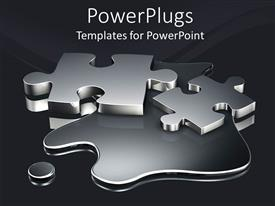 PowerPoint template displaying two metallic colored puzzle pieces on a dark liquid