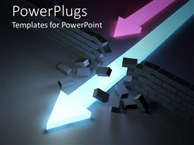 PowerPlugs: PowerPoint template with two neon pink and bright blue glowing arrows running through a brick wall