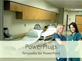 PowerPlugs: PowerPoint template with two nurses standing in a ward
