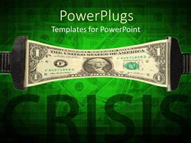 PowerPlugs: PowerPoint template with two objects stretching out a dollar bill with a text that spells out the word 'crisis '